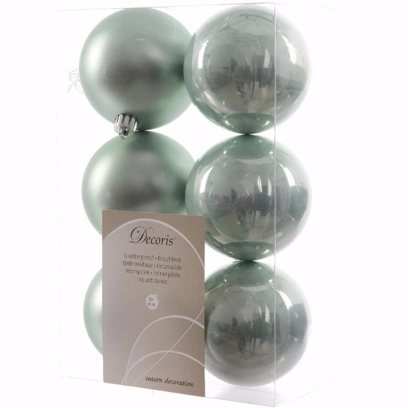 Kerst kerstballen mint 6 cm Nature Christmas 6 stuks