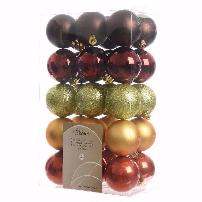 Kerst kerstballen mix 6 cm Cosy Christmas 30 stuks
