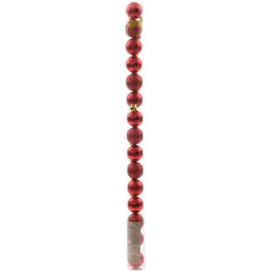 Kerst kerstballen rood mix 3 cm Christmas Red 15 stuks