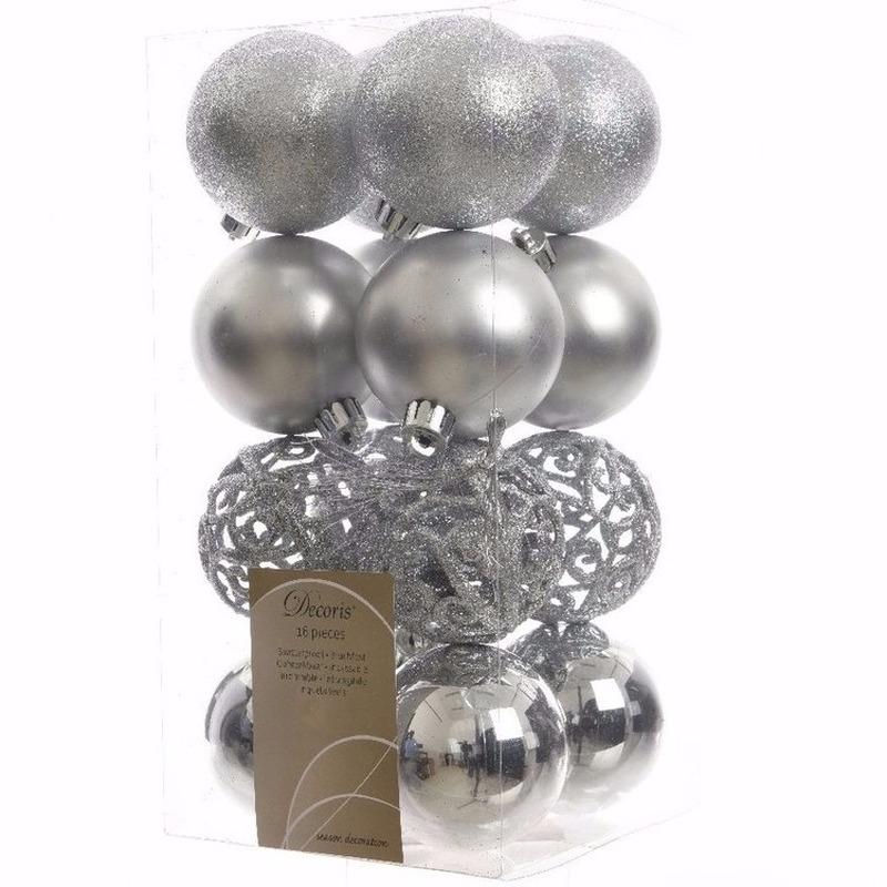 Kerst kerstballen zilver 6 cm Christmas Silver 16 stuks