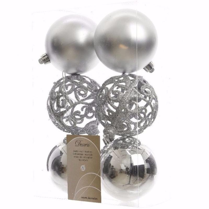 Kerst kerstballen zilver mix 6 cm Ambiance Christmas 6 stuks