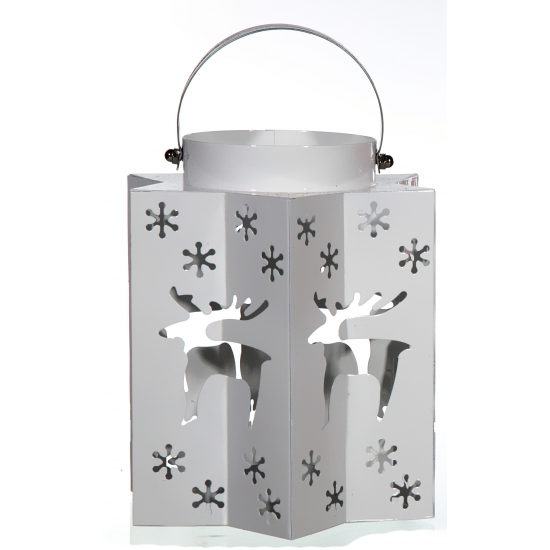 Kerst lantaarn met rendieren zilver. deze kerst lantaarn in de kleur zilver heeft uitgesneden sterren en ...