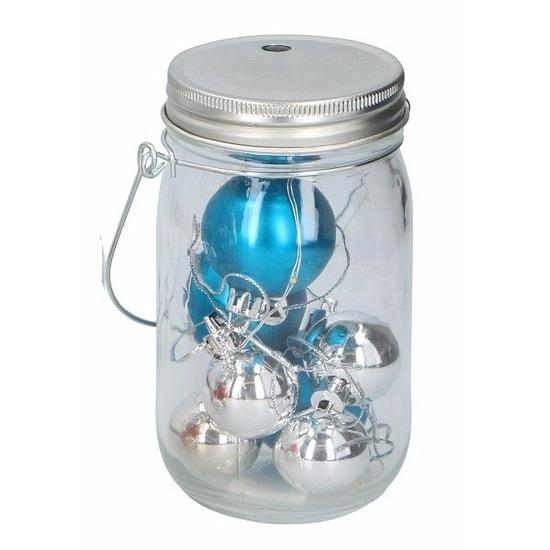 Kerst potje met blauwe ballen en 10 led lampjes
