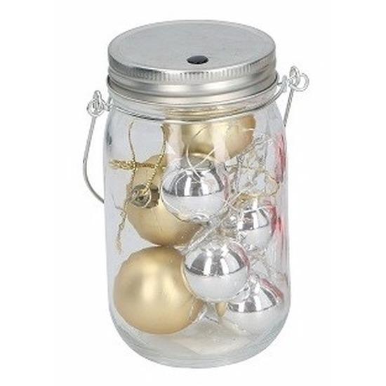 Kerst potje met gouden ballen en 10 led lampjes