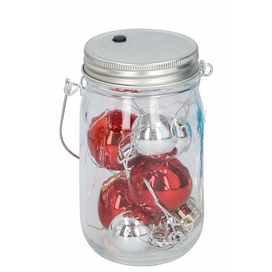 Kerst potje met rode ballen en 10 led lampjes