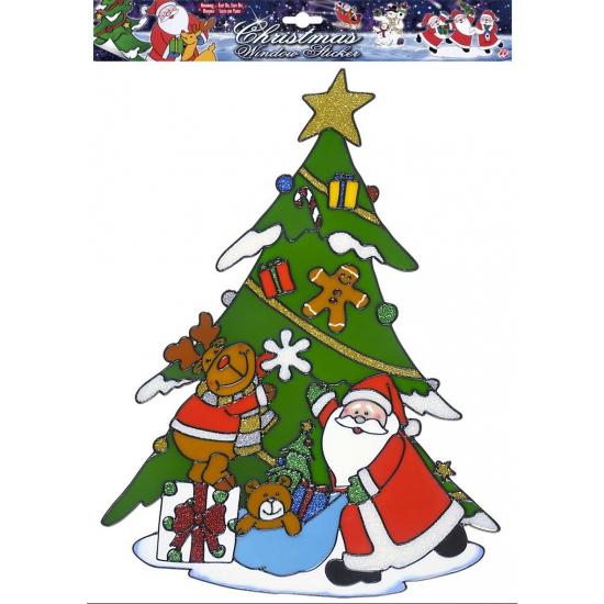 Kerst raamsticker kerstman met rendier. deze sticker met de kerstman met rendier en kerstboom is een stikker ...