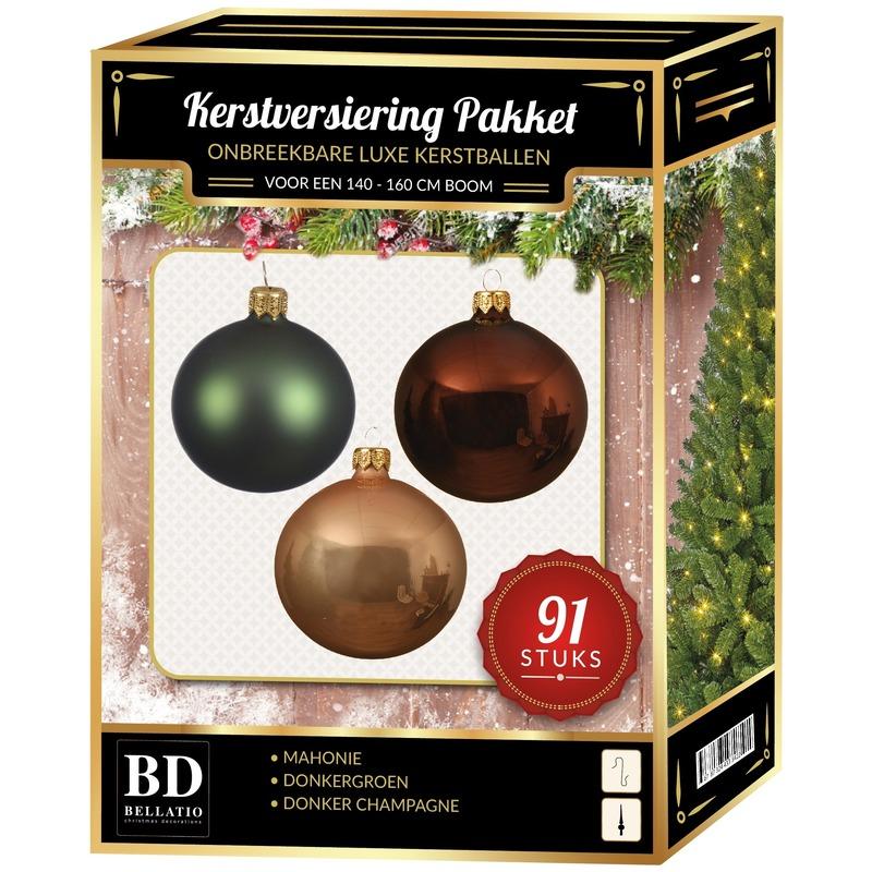 Kerstbal en piek set 91x champagne-bruin-groen voor 150 cm boom