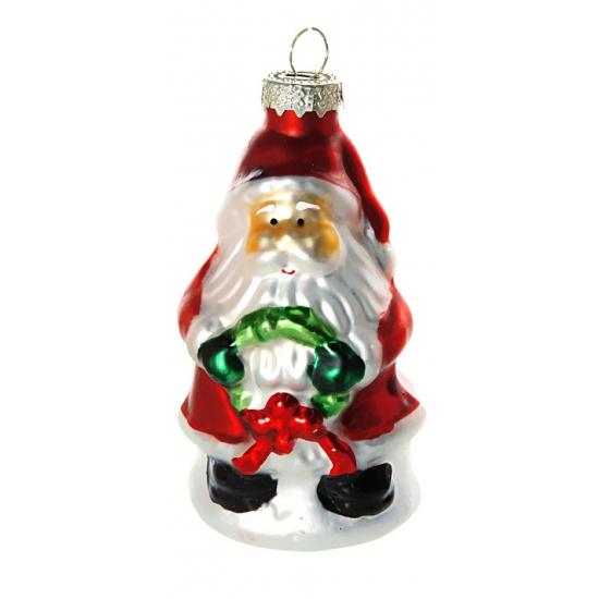Kerstbal kerstman met krans 8 cm