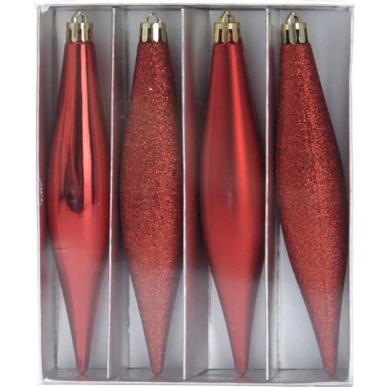Kerstbal pegel rood 15 cm