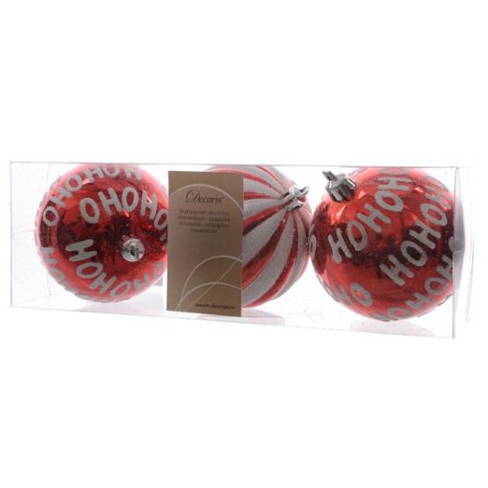 Kerstbal rood hohoho 3 stuks 8 cm