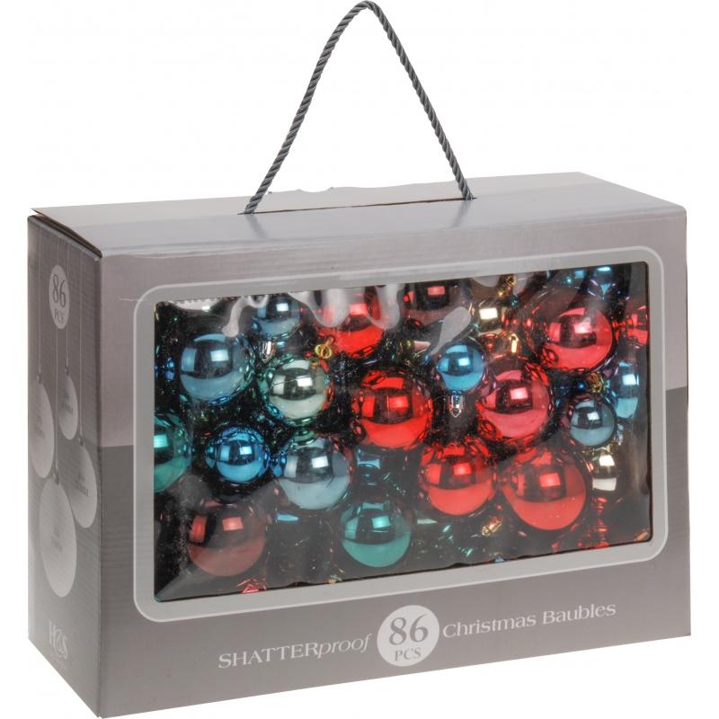 Kerstballen 86 delig bonte kleuren