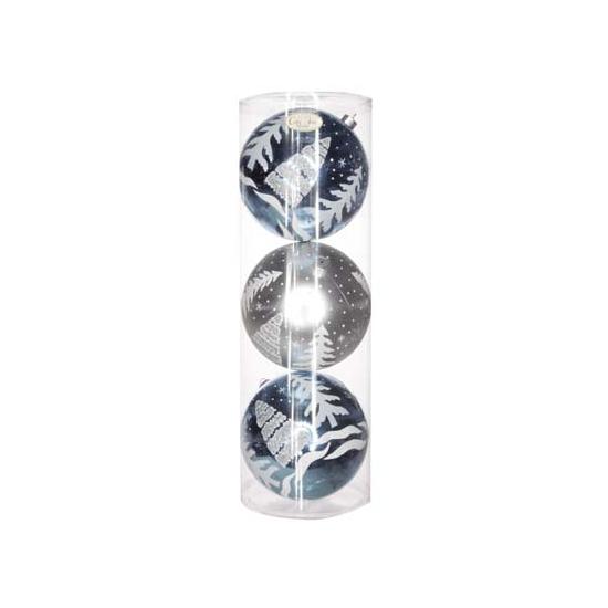 Kerstballen blauw-zilver 15 cm