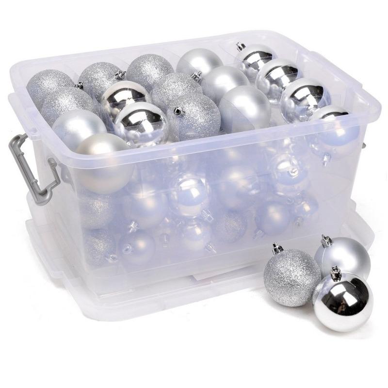Kerstballen-kerstversiering zilver in box 70 stuks