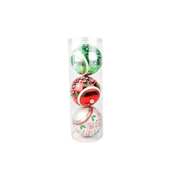 Kerstballen met kerstprint 15 cm