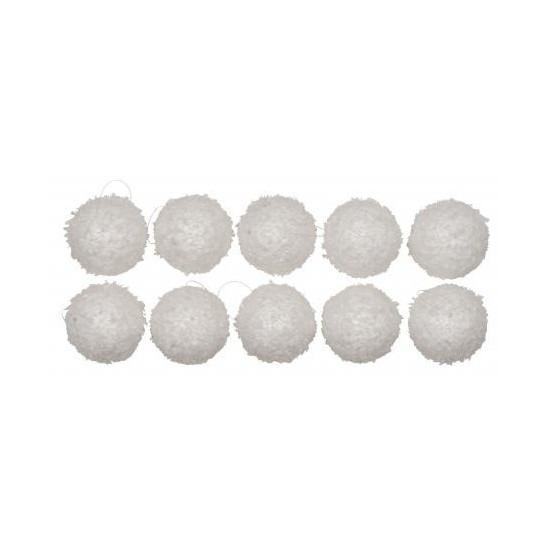 Kerstballen met sneeuweffect wit 10 stuks 6 cm
