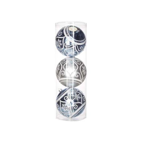 Kerstballen zilverblauw ornament 15 cm