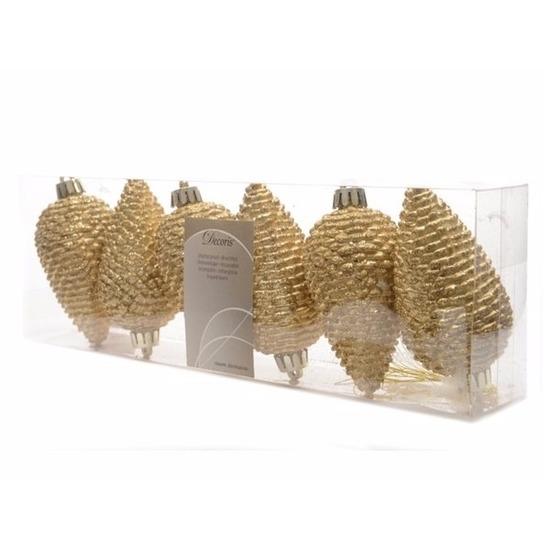 Kerstboom decoratie kerstbal dennenappels goud 6 stuks