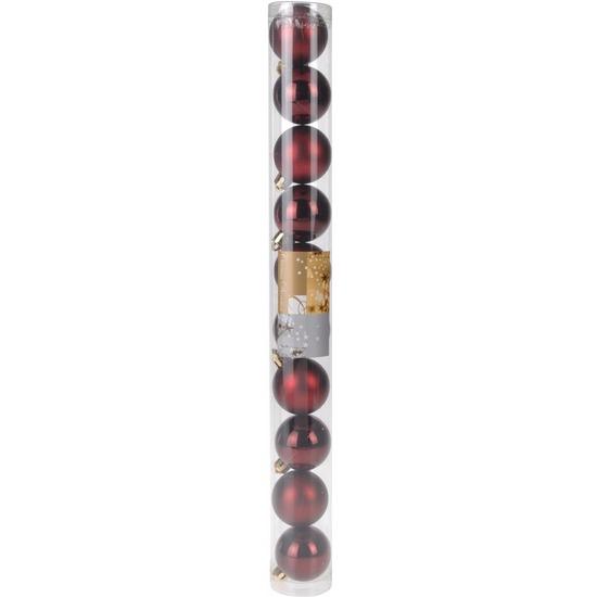 Kerstboom decoratie kerstballen mix bordeaux 10 stuks type 1