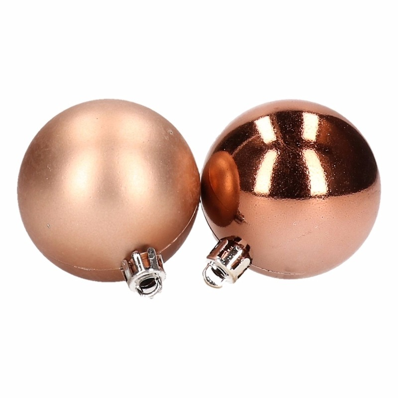 Kerstboom decoratie kerstballen mix brons 8 stuks type 1