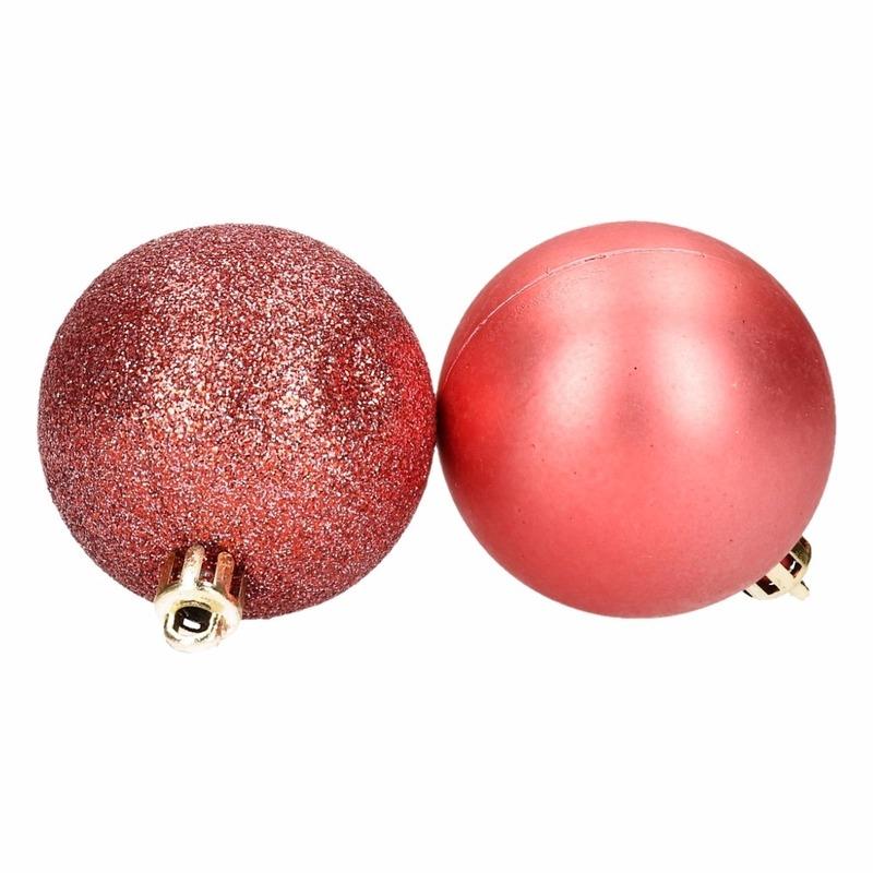 Kerstboom decoratie kerstballen mix rood 8 stuks type 1
