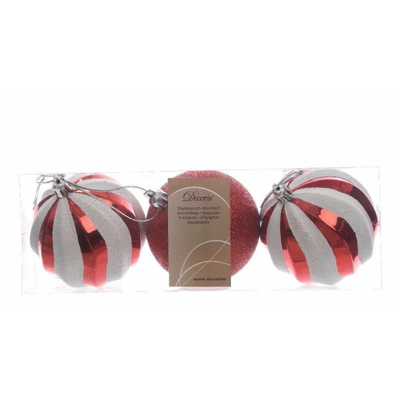 Kerstboom decoratie kerstballen mix rood-wit 6 cm 3 stuks