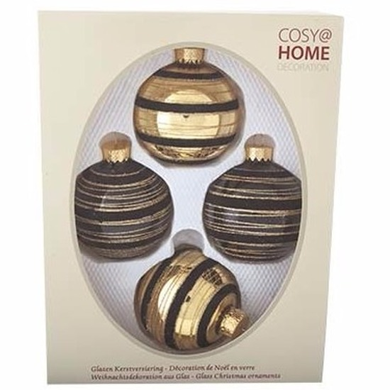 Kerstboom decoratie kerstballen mix zwart-goud 4 stuks van glas