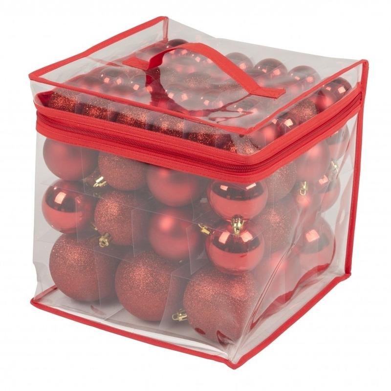 Kerstboom decoratie kerstballen rood 77 stuks 4-6-8 cm