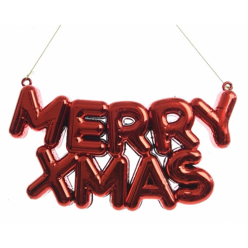 Kerstboom decoratie Merry Xmas 20 x 10 cm rood