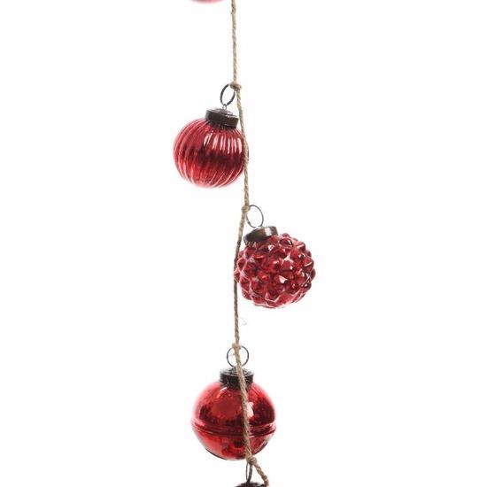 Kerstboom decoratie rode kerstballen slinger 120 cm van glas