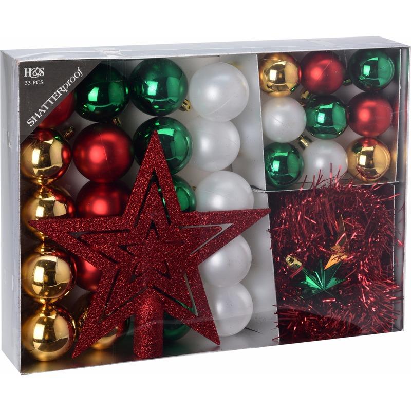Kerstboom decoratie set 33 delig rood-goud-groen