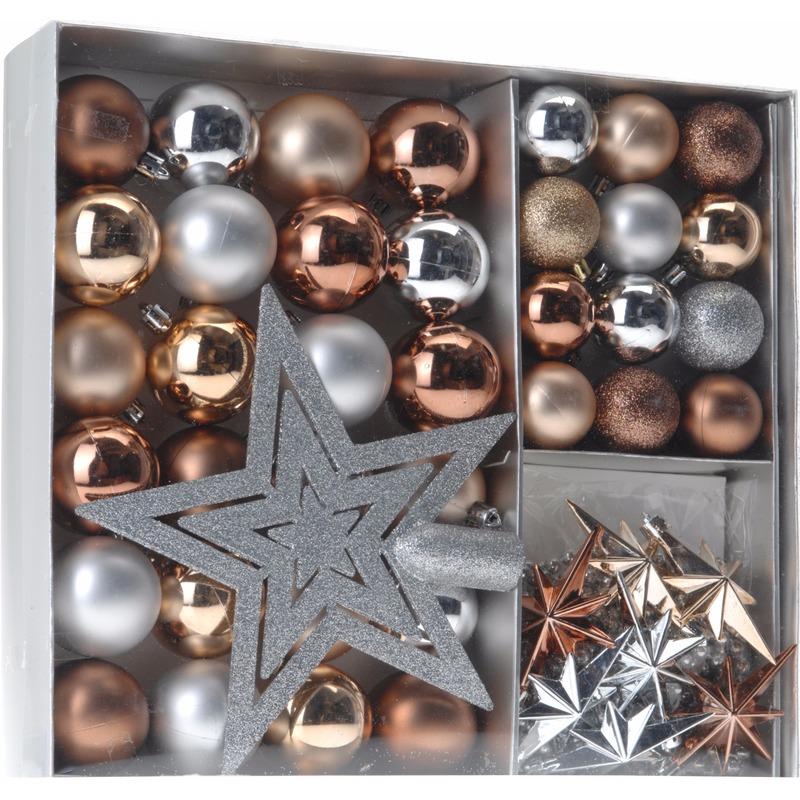 Kerstboom decoratie set 45-delig brons-zilver-goud