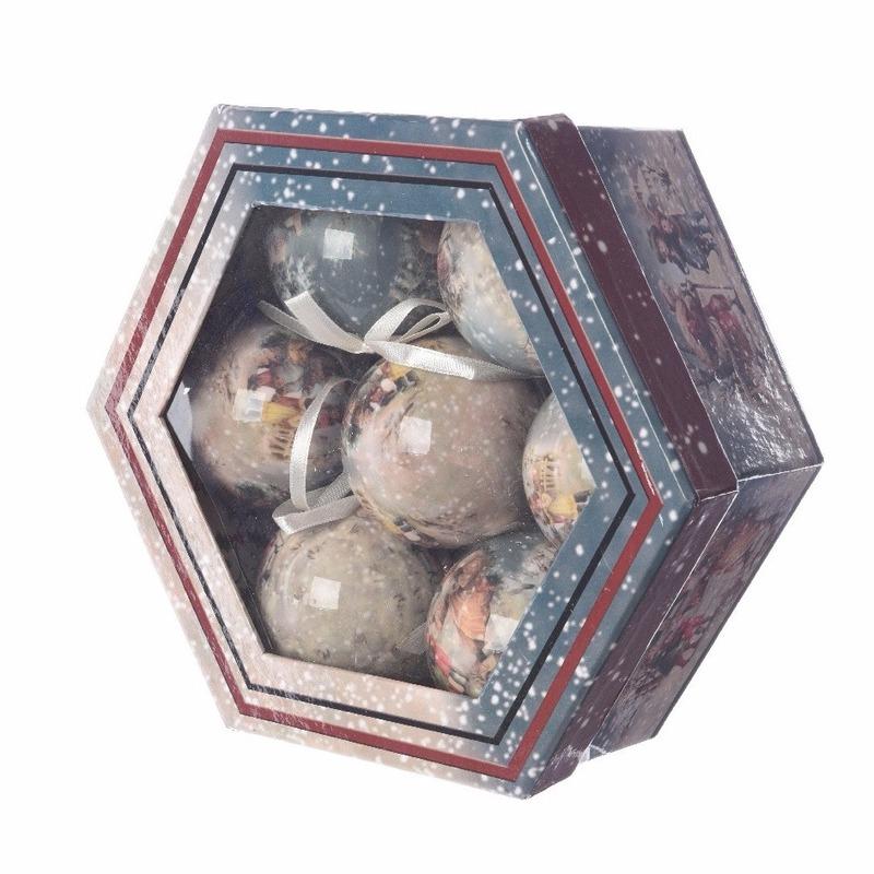 Kerstboom decoratie vintage kerstballen cadeaubox 7 stuks 7,5 cm