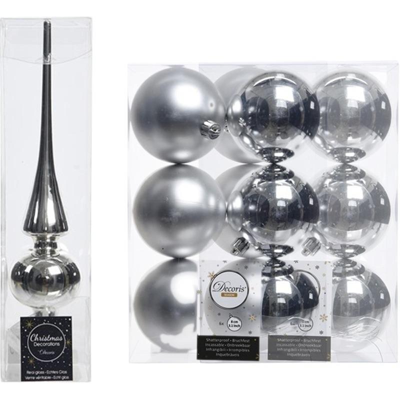 Kerstboom decoratie zilver piek en 12x kerstballen 8 cm