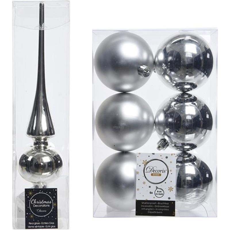 Kerstboom decoratie zilver piek en 6x kerstballen 8 cm
