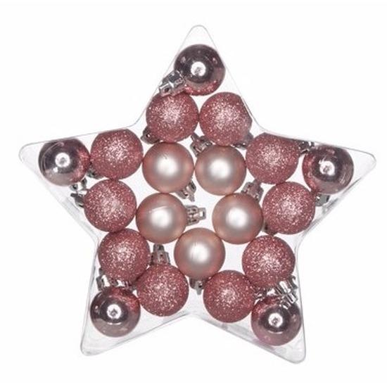 Kerstboom kerstballen mix roze 20 stuks 3 cm voor miniboom
