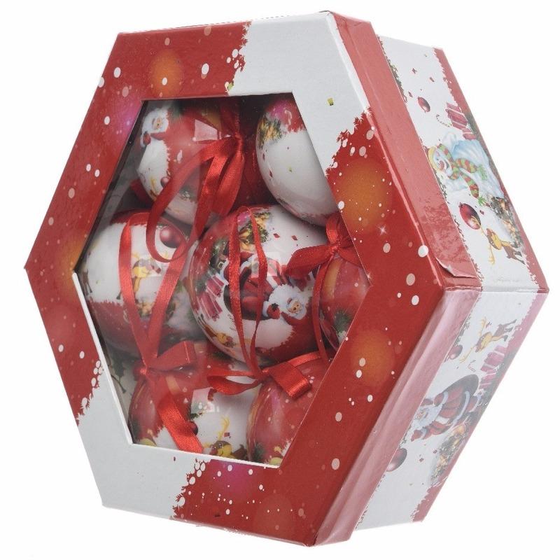 Kerstboom kerstman kerstballen cadeaubox 7 stuks 7,5 cm
