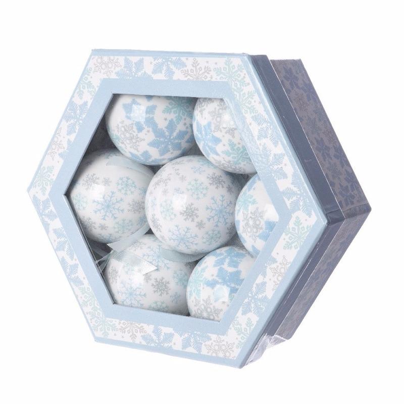 Kerstboom sneeuwvlok kerstballen cadeaubox 7 stuks 7,5 cm
