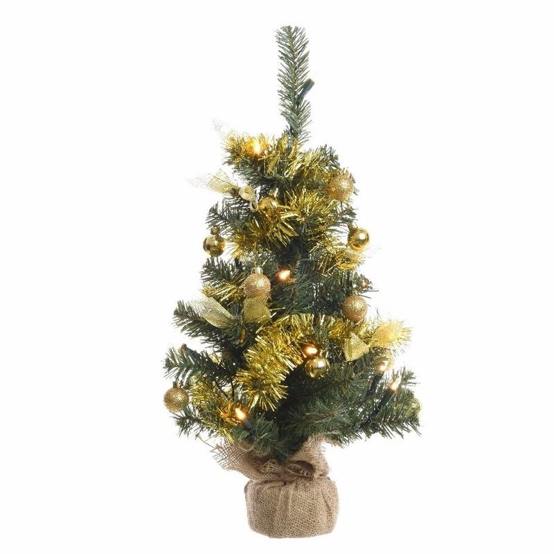 Kerstboompje groen-goud met verlichting 60 cm