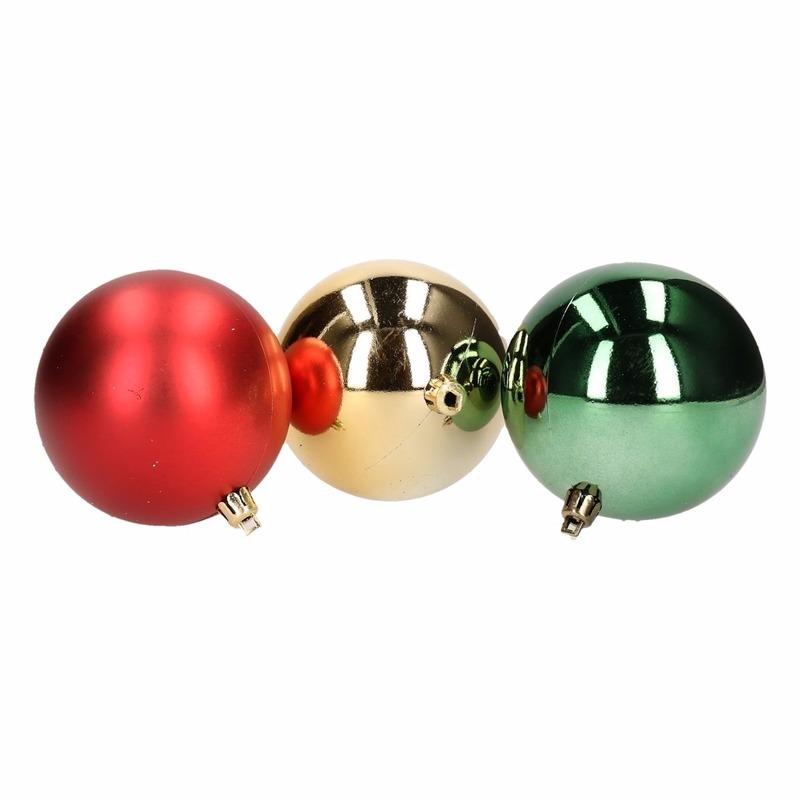 Kerstboomversiering goud rood en groene ballen 5 stuks