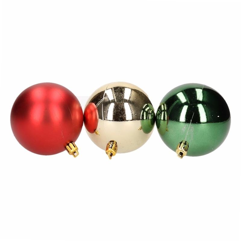 Kerstboomversiering goud rood en groene ballen 6 stuks