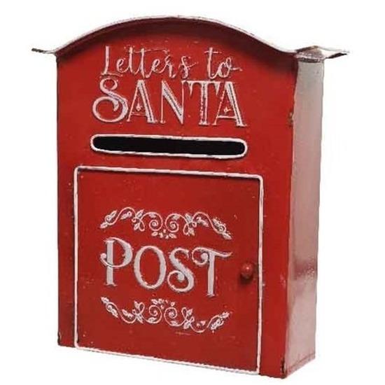 Kerstdecoratie Kerstman brievenbus van ijzer 30,5 cm