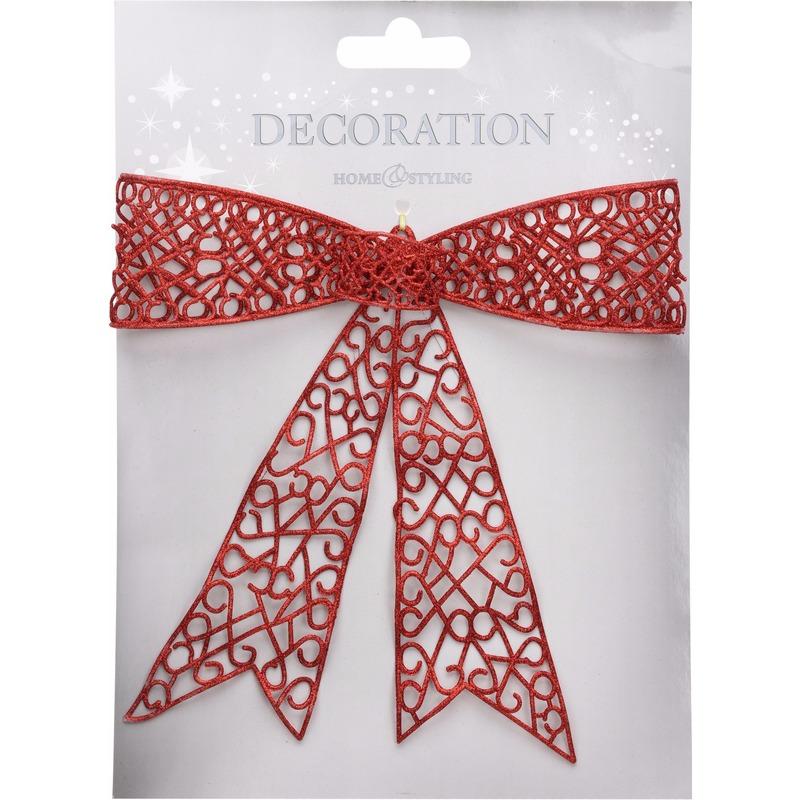 Kerstdecoratie strik rood 36 cm