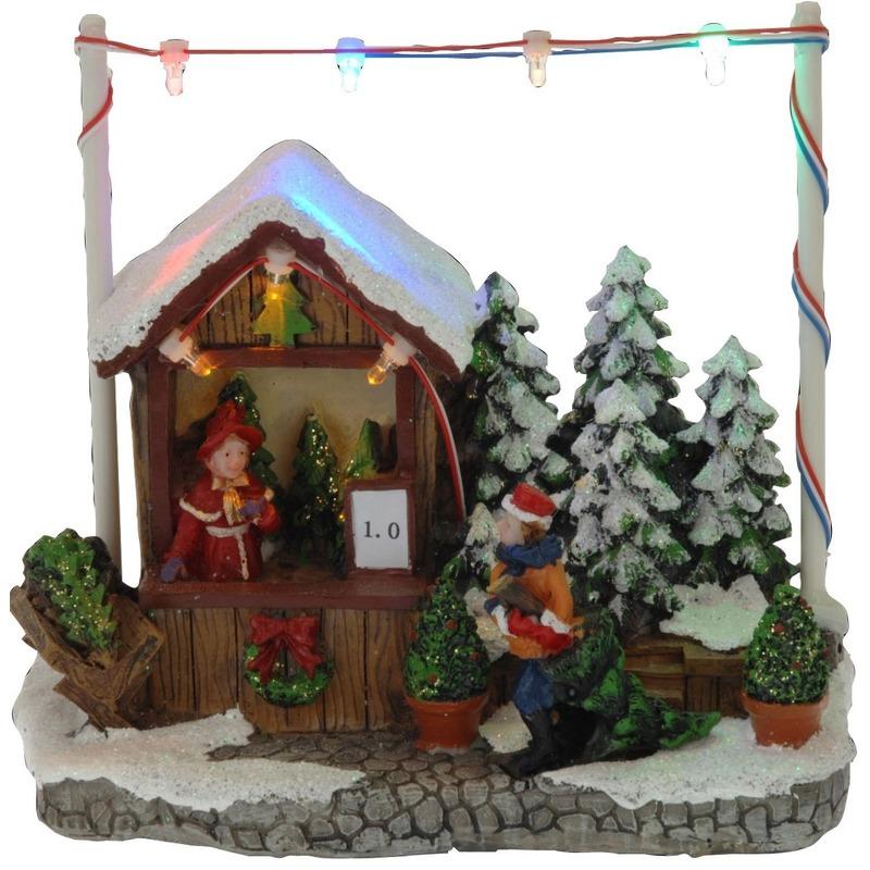 Kerstdorp kerstboom kraampje-winkeltje 16 cm met LED verlichting
