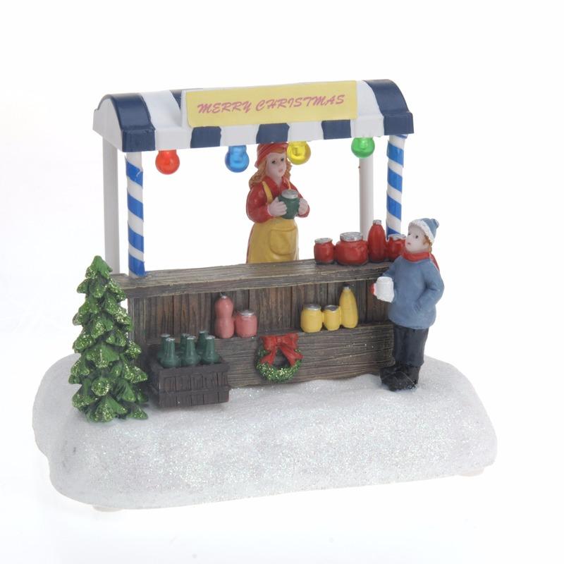 Kerstdorp maken verkoopstalletje met LED licht