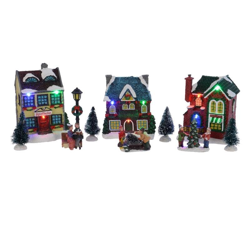 Kerstdorp winterlandschap LED 3 huisjes