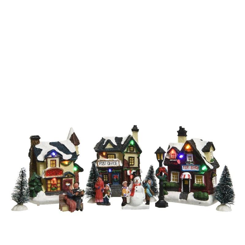 Kerstdorp winterlandschap LED set van 10 artikelen