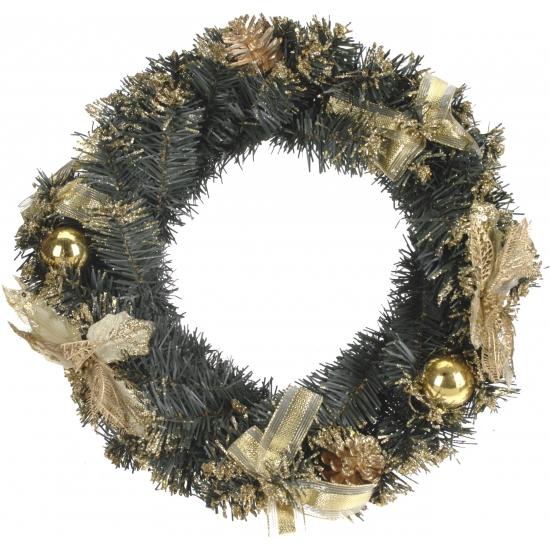 Kerstkrans met gouden decoratie 40 cm