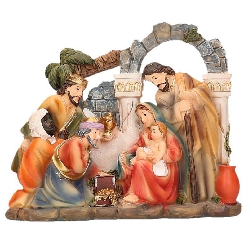 Kerststal beeldje heilige familie 17 x 15 cm