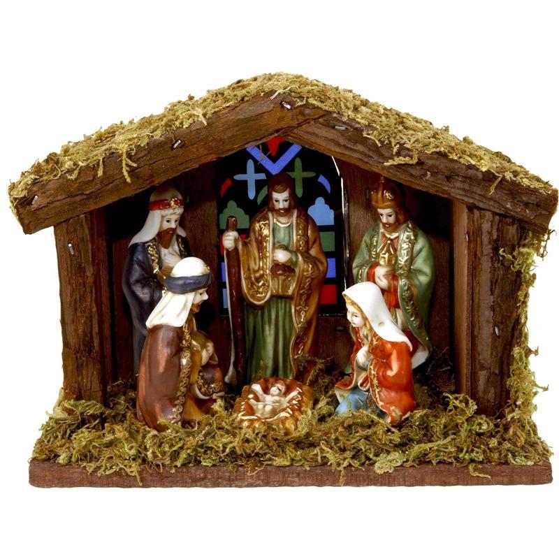 Kerststal met verlichting en figuren 22cm