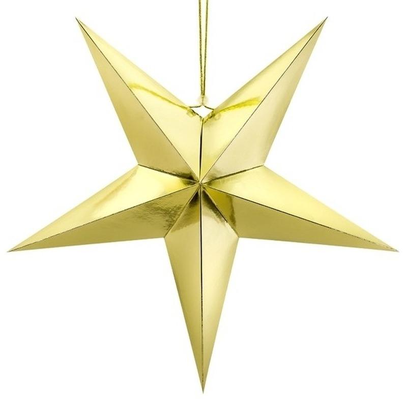 Kerstster decoratie gouden ster lampion 30 cm